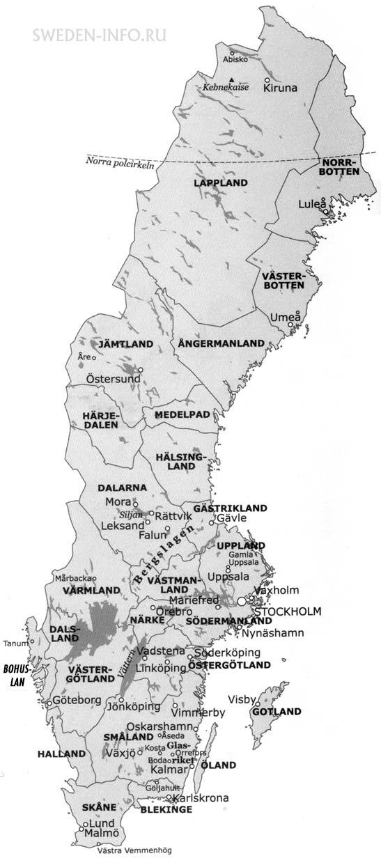 карта регионов Швеции